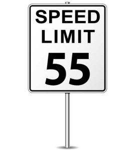 illustration of fifty five speed limit signpost